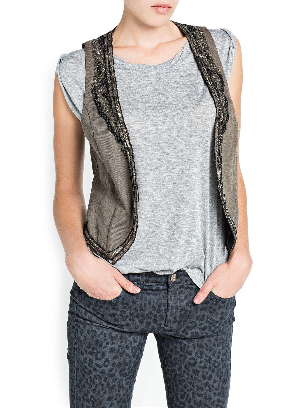 Crystal beads gilet | MANGO