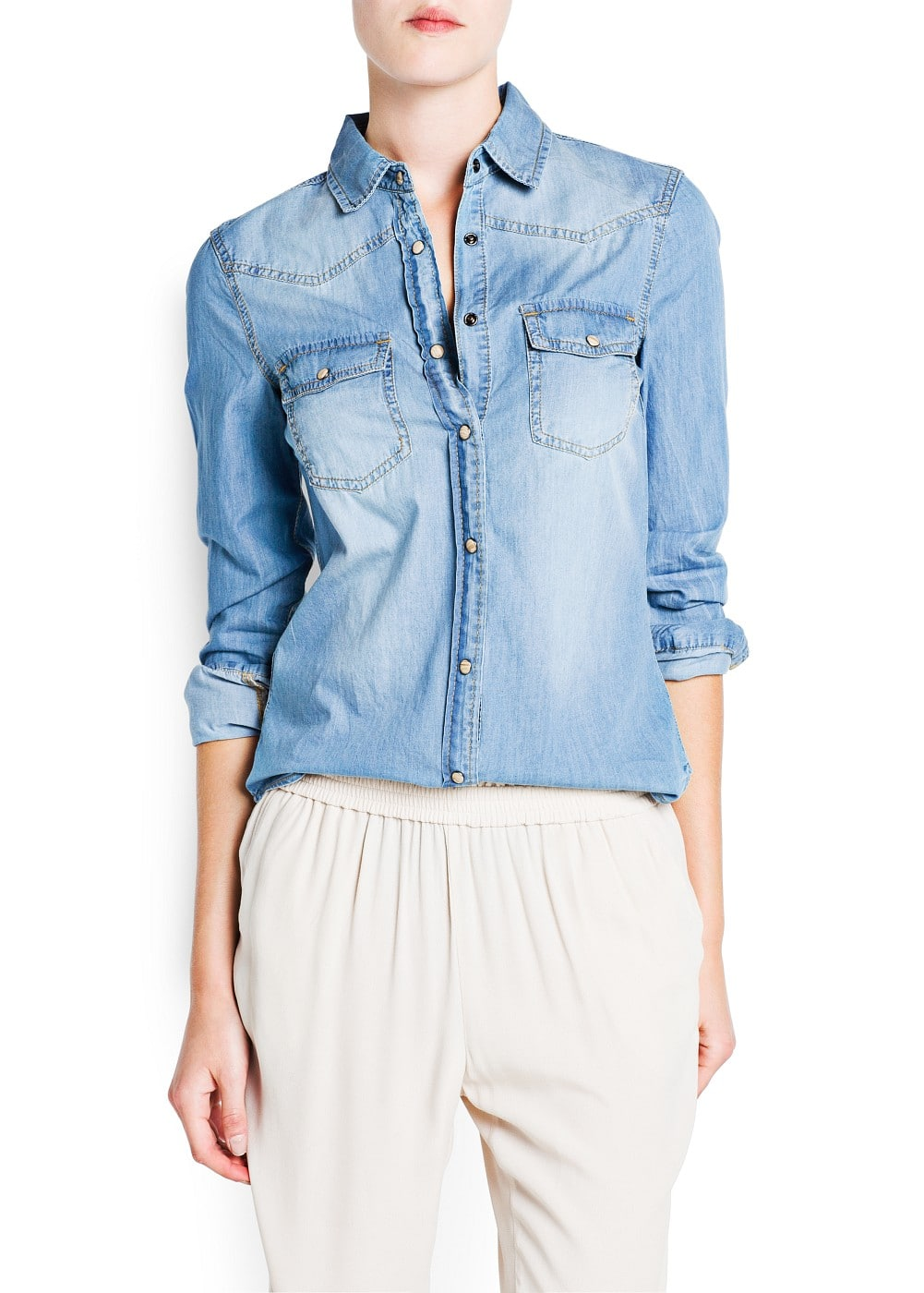 Light wash denim shirt | MANGO