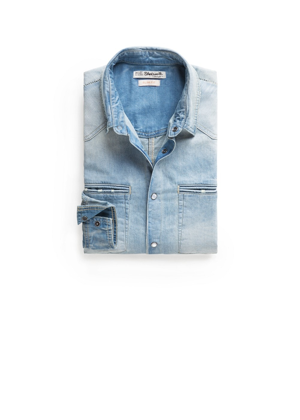 Slim-fit medium denim shirt | MANGO