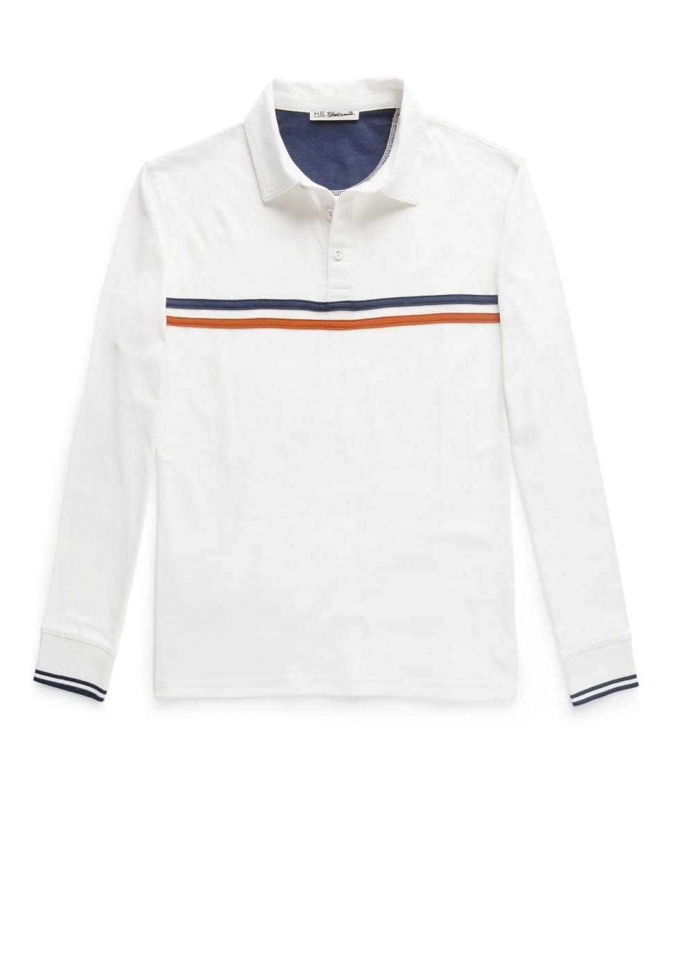 Contrast striped cotton polo shirt