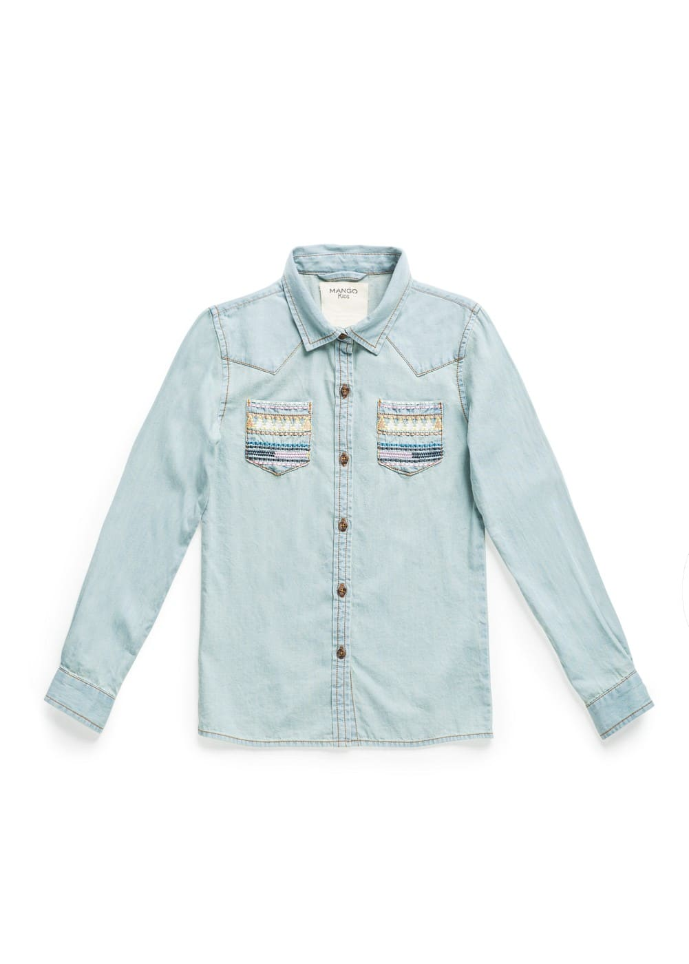 Ethnic embroidery denim shirt | MANGO KIDS