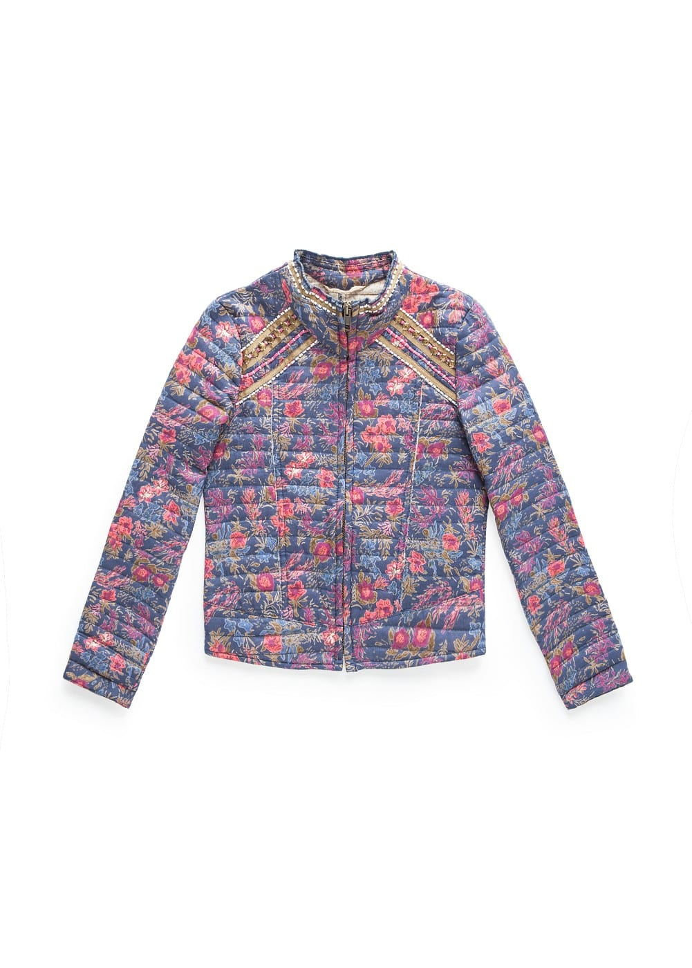 Oriental print quilted jacket