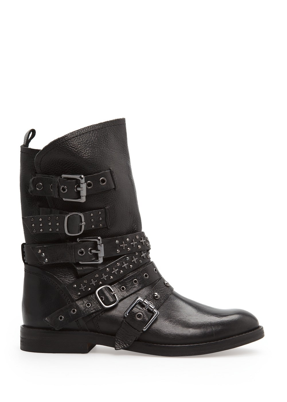Punk style leather ankle boots