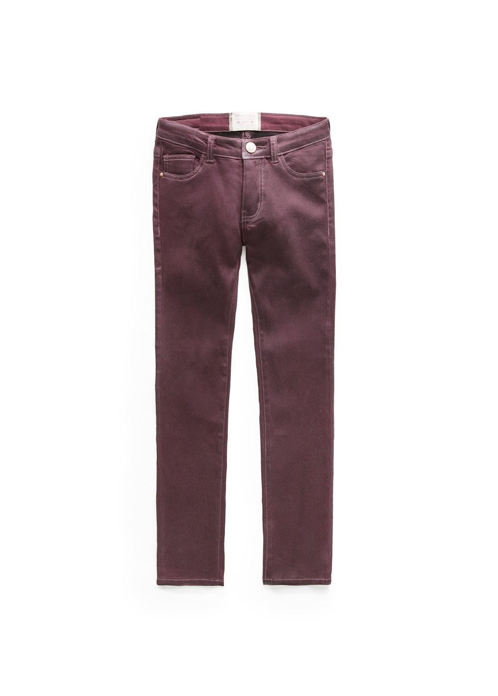 Coated burgundy jeans