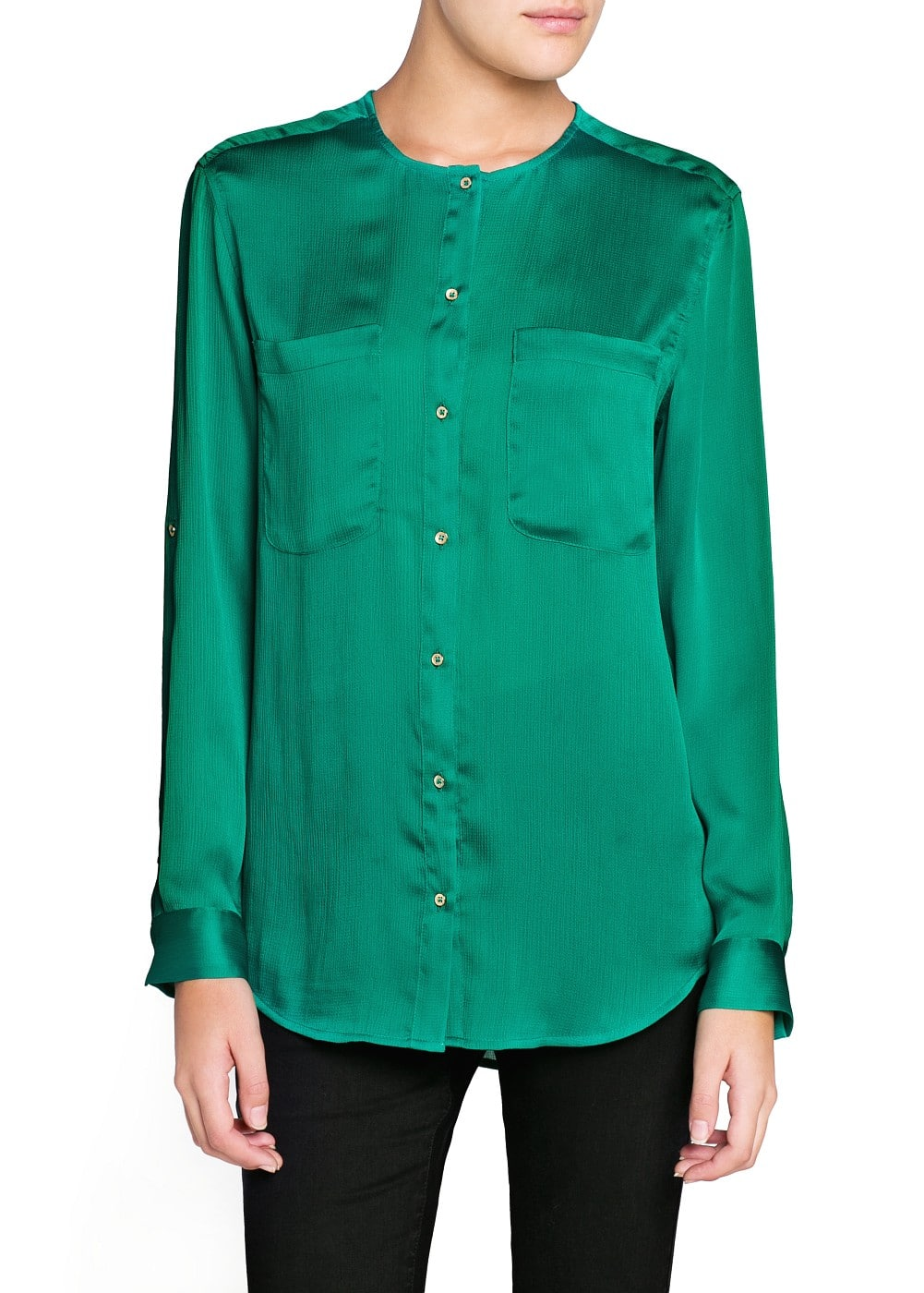 Textured satin blouse | MANGO