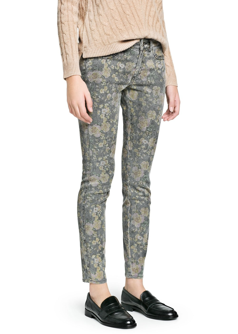 Distressed floral print trousers | MANGO