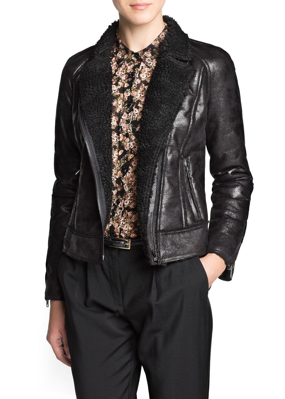 Shearling effect biker jacket