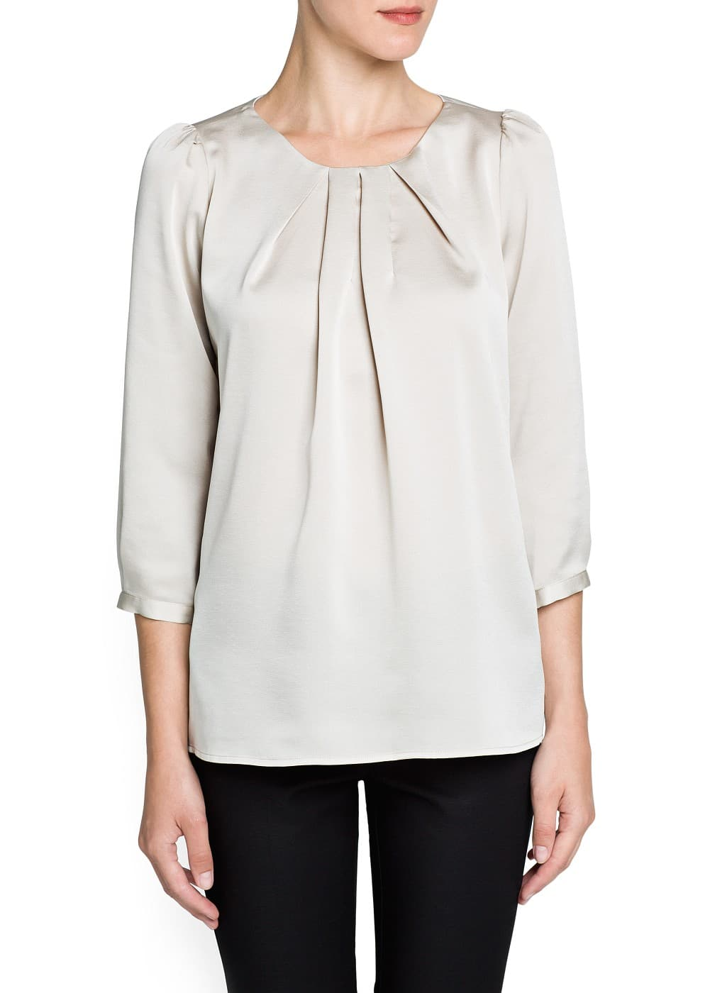Satin-finish pleated blouse