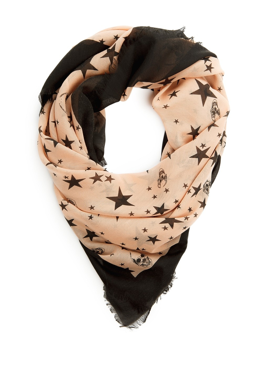 Skull and star print scarf