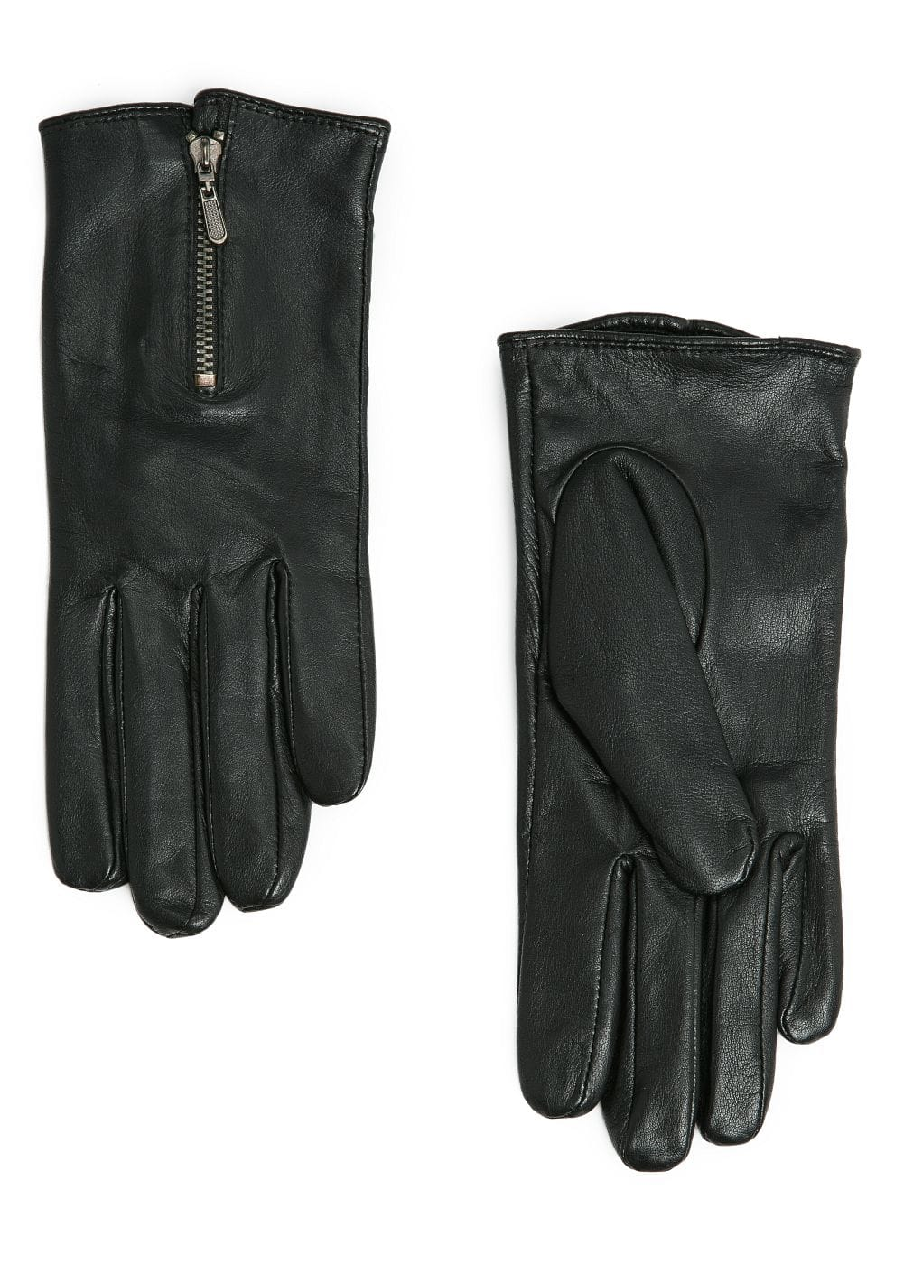 Zip fastening leather gloves | MANGO