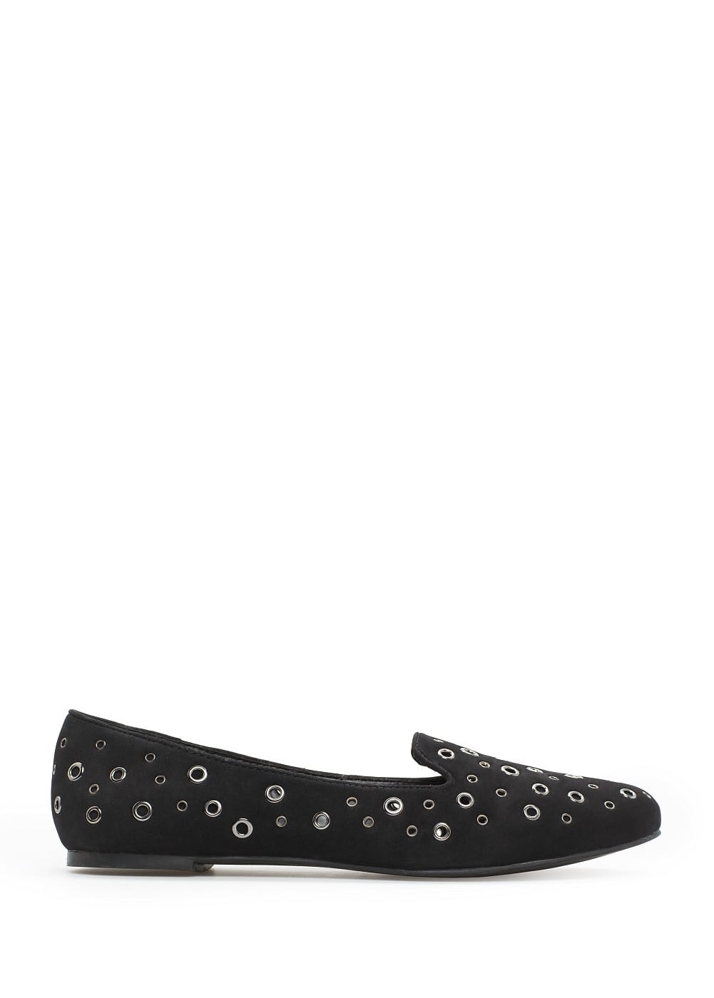 Studded faux suede slippers