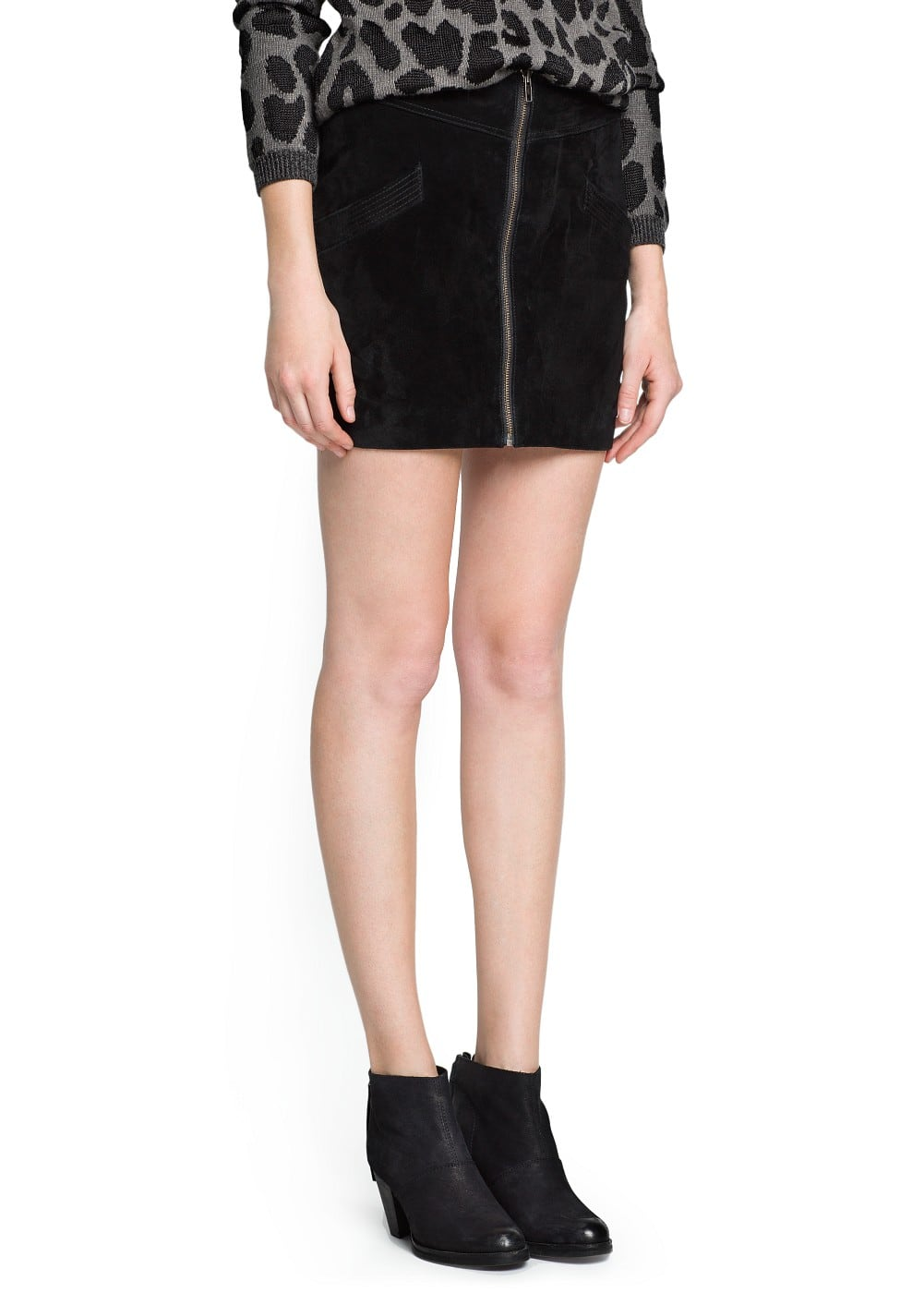 Zipper leather miniskirt