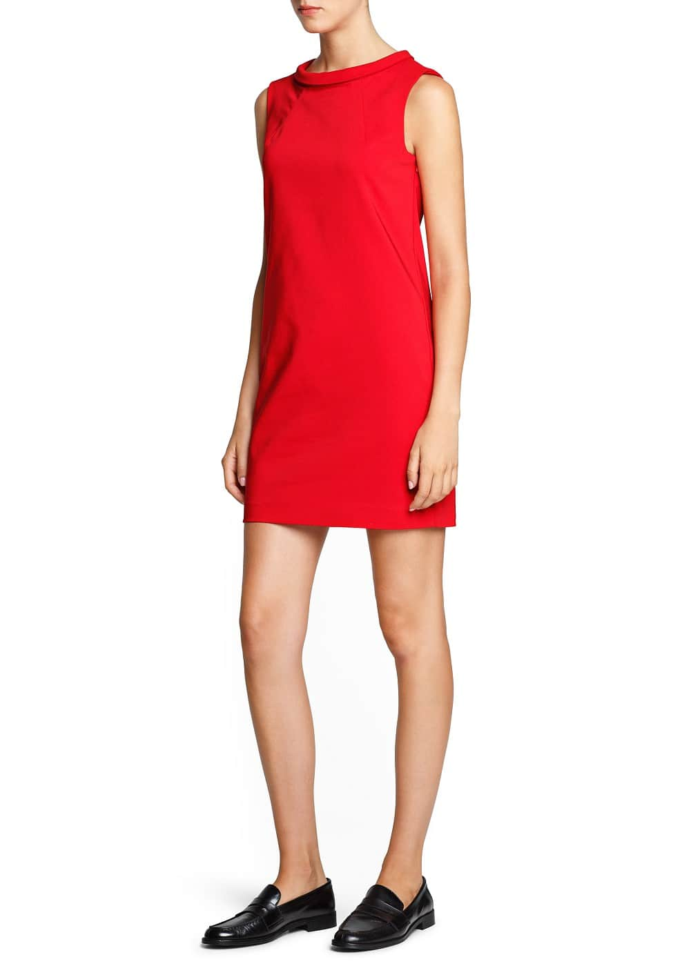 Stand collar shift dress