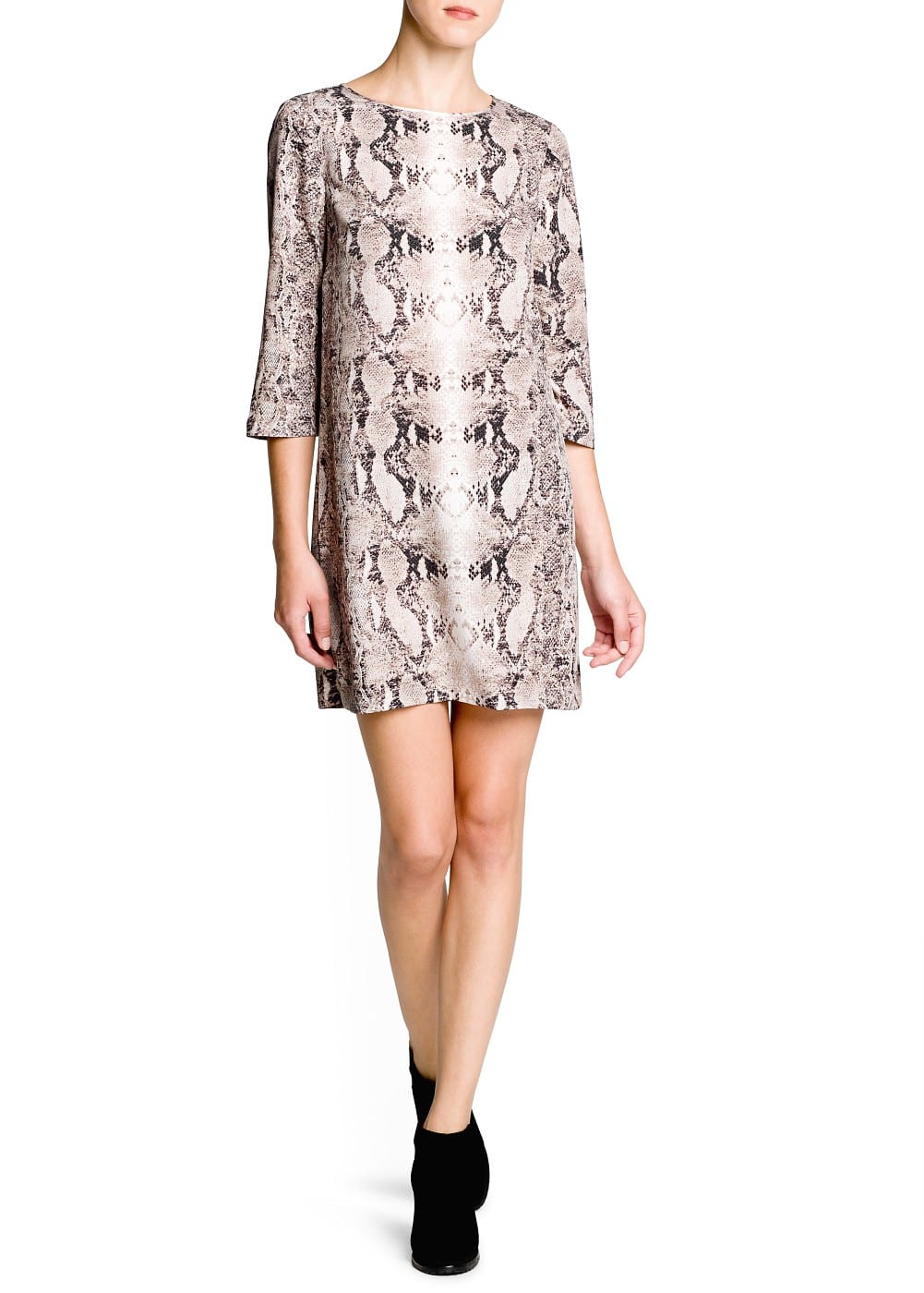 Snakeskin print satin dress | MANGO