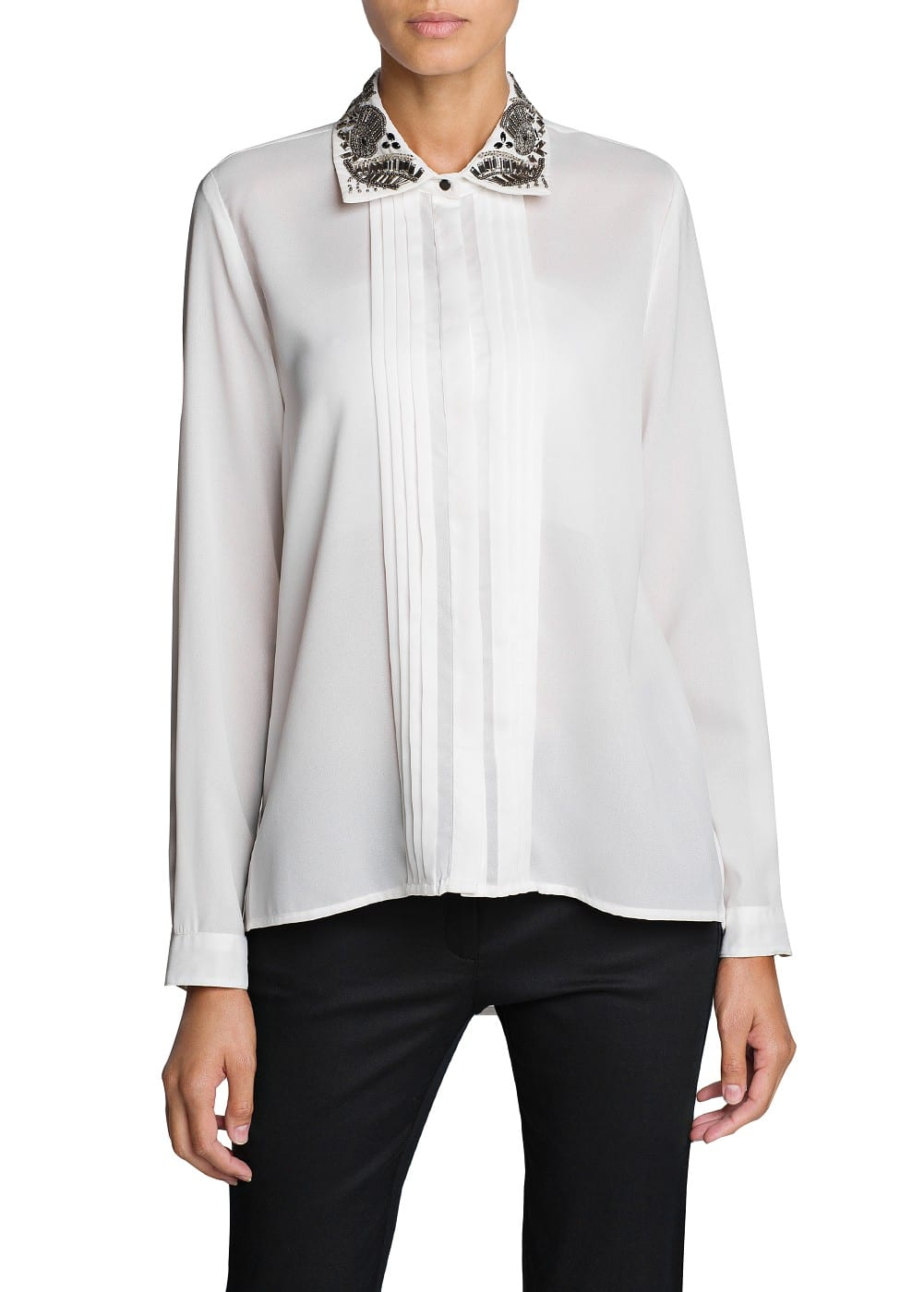 Embellished collar shirt | MANGO