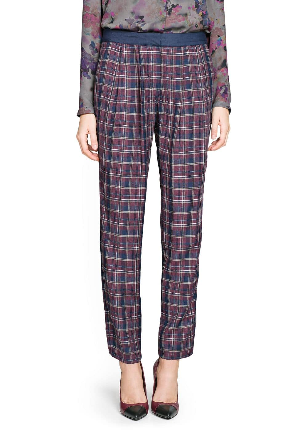 Tapered check trousers | MANGO