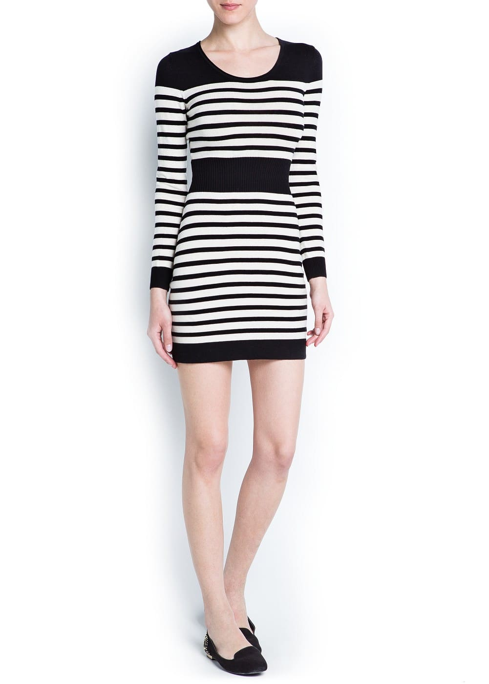 Striped cotton knit dress | MANGO