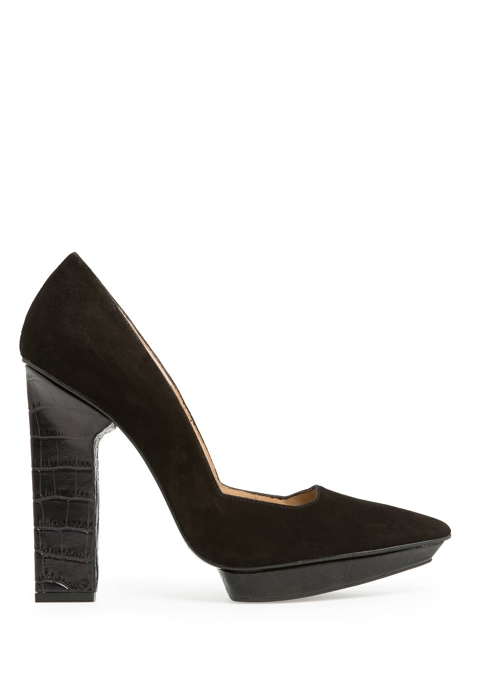 COMBI SUEDE STILETTO SHOES