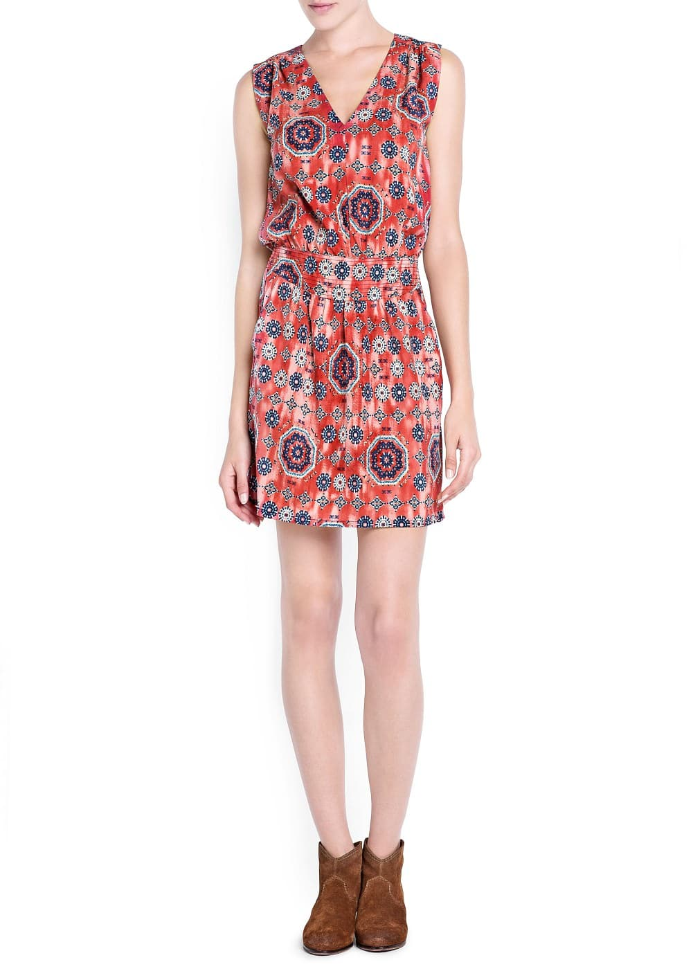 Stitched appliqué printed dress