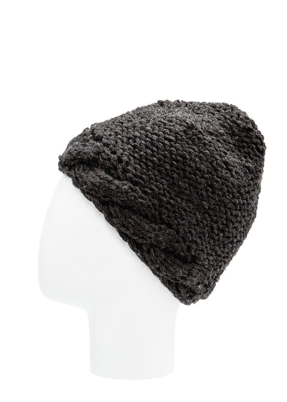 Reverse cable-knit beanie