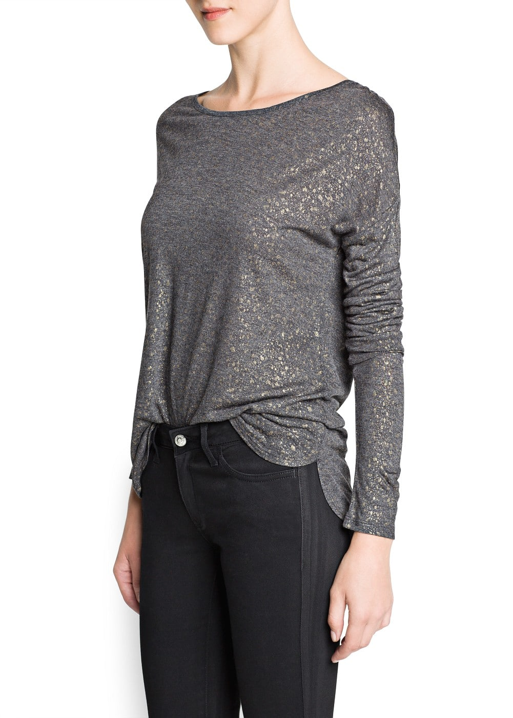 Metallic detail flowy t-shirt