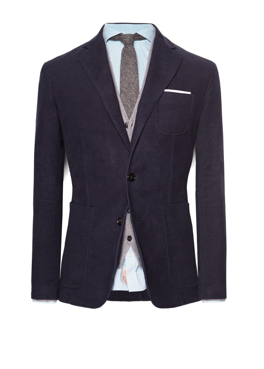 Garment-dyed cotton-blend blazer
