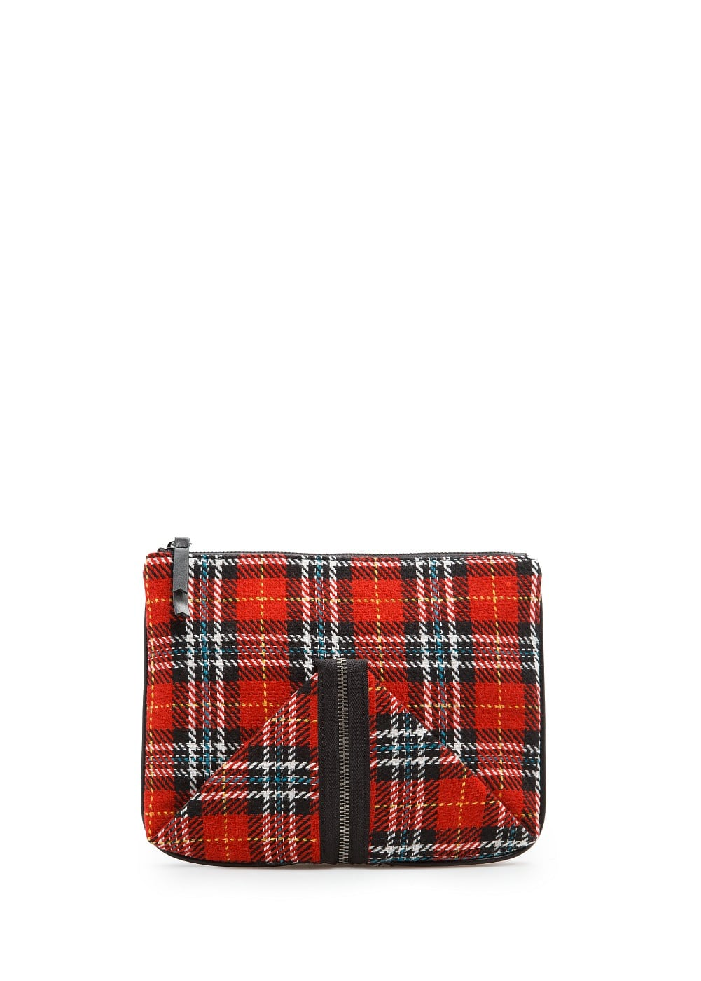 Flaps checked cosmetic bag