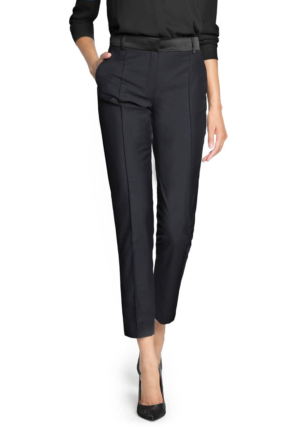 Satin detail tapered trousers