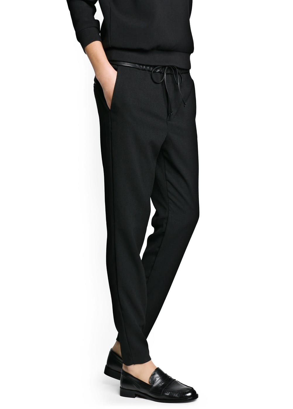 Crepe flowy trousers