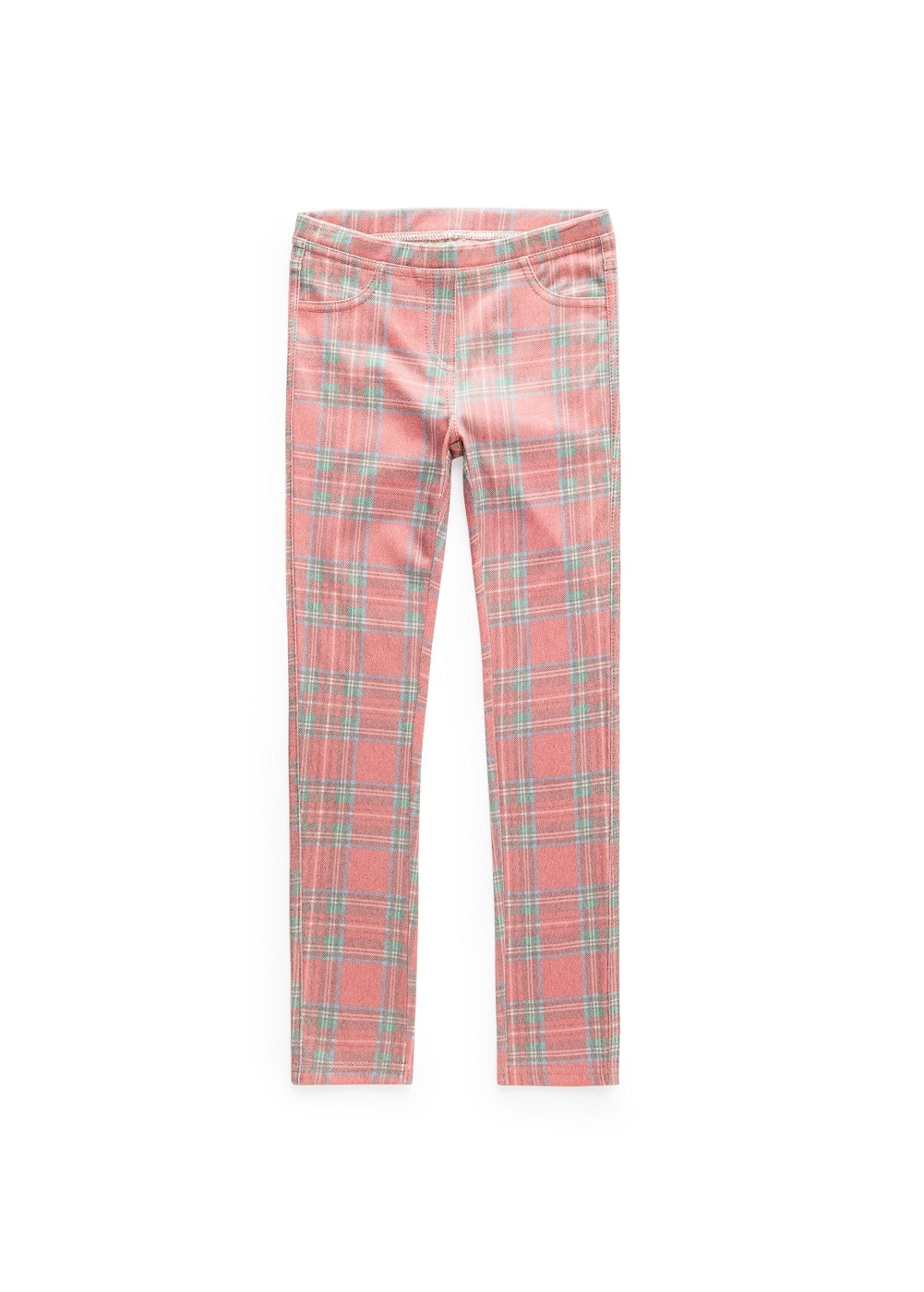 Plaid cotton-blend jeggings