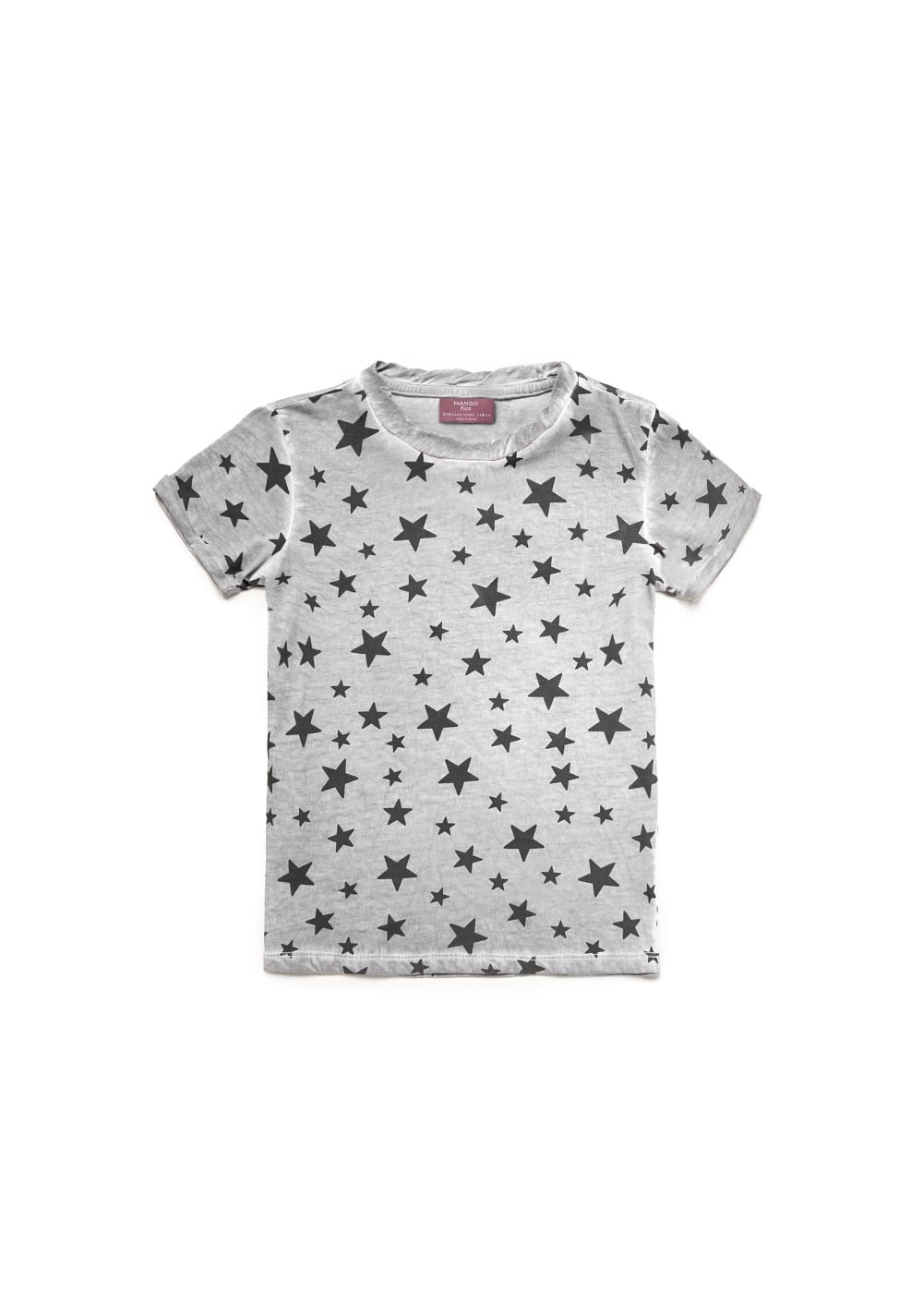 WASHED EFFECT STARS PRINT T-SHIRT