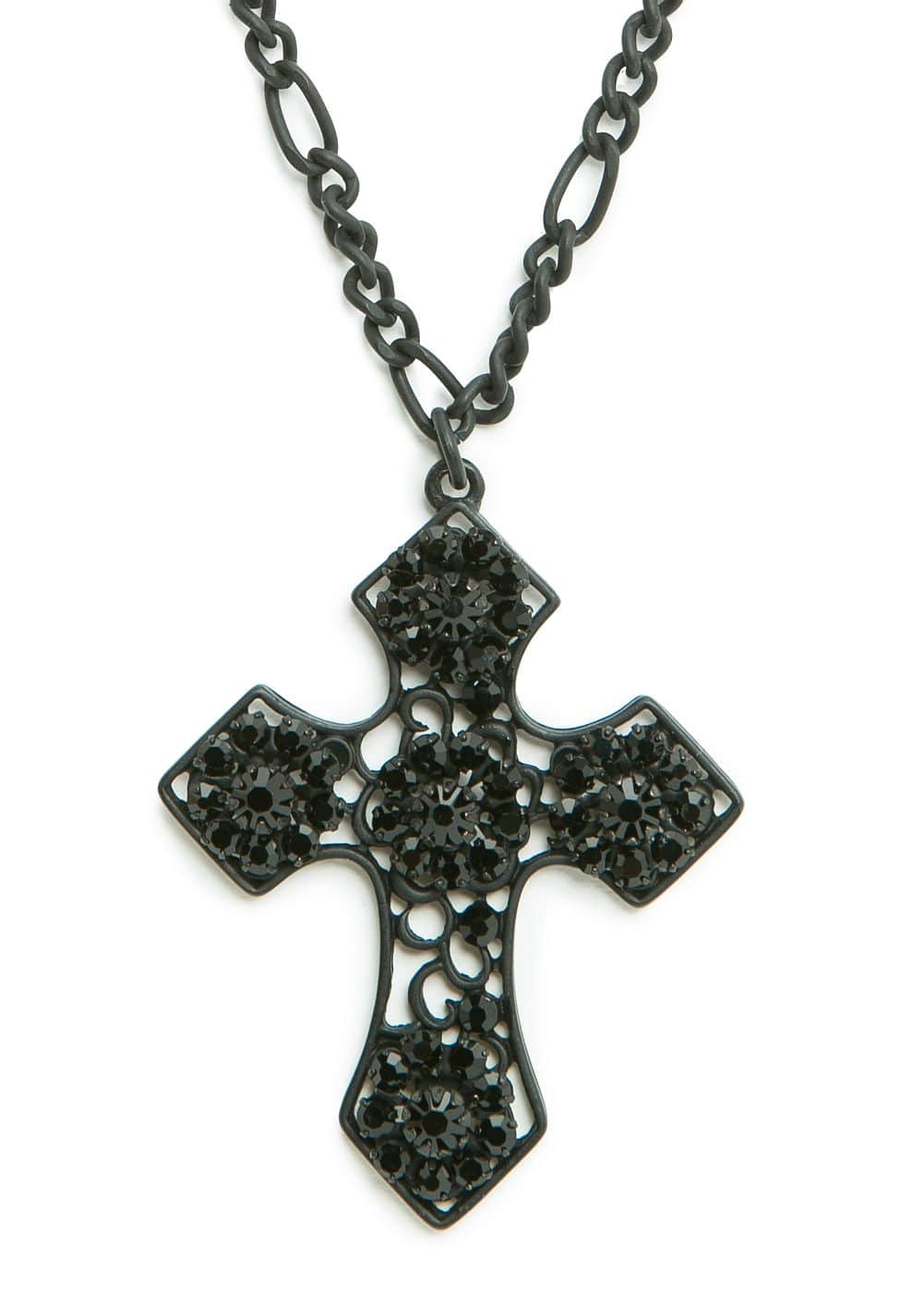 Strass cross long necklace