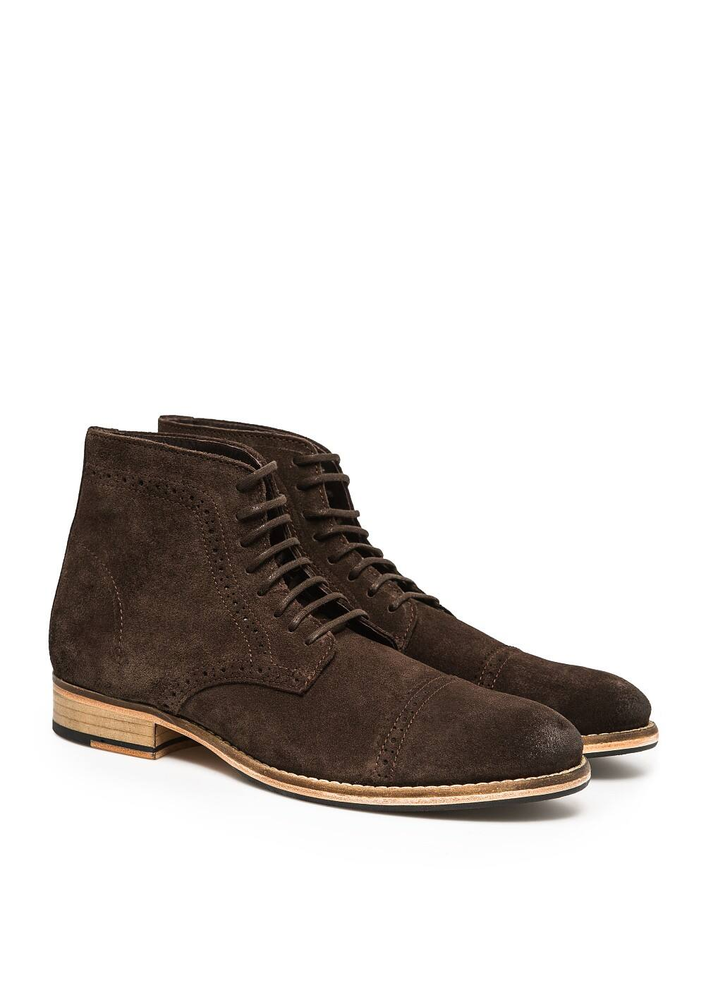 Brogueing suede ankle boots