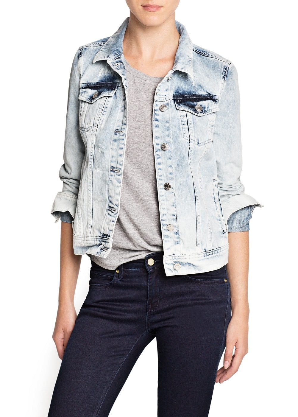 Studded eagle denim jacket | MANGO