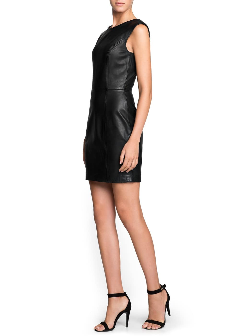 Padded shoulder leather dress | MANGO