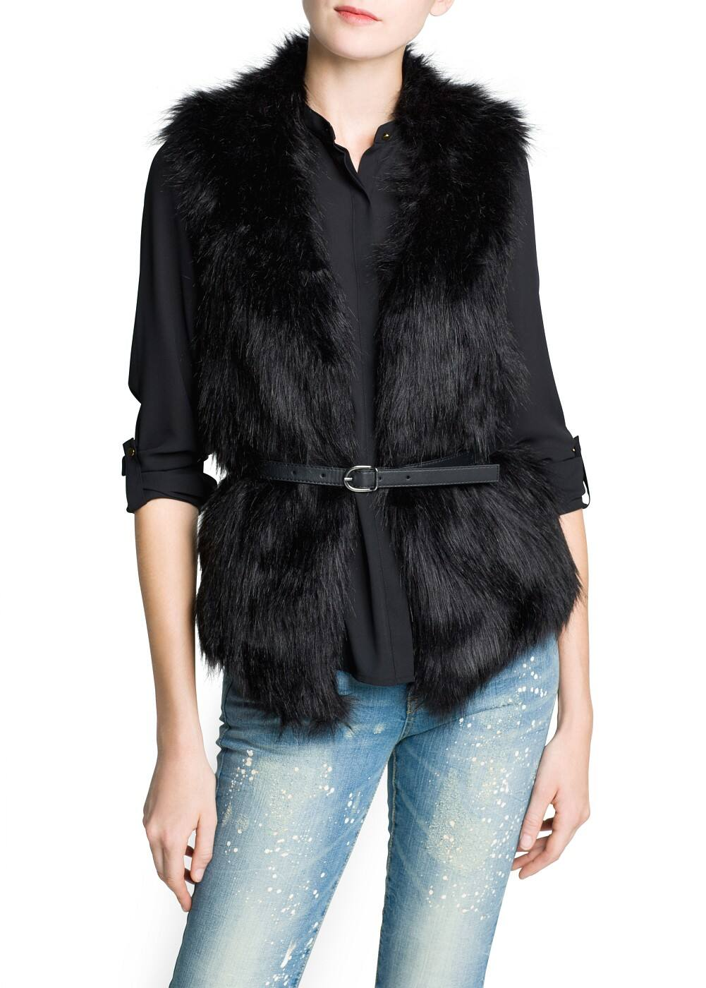 Faux fur panels knitted gilet