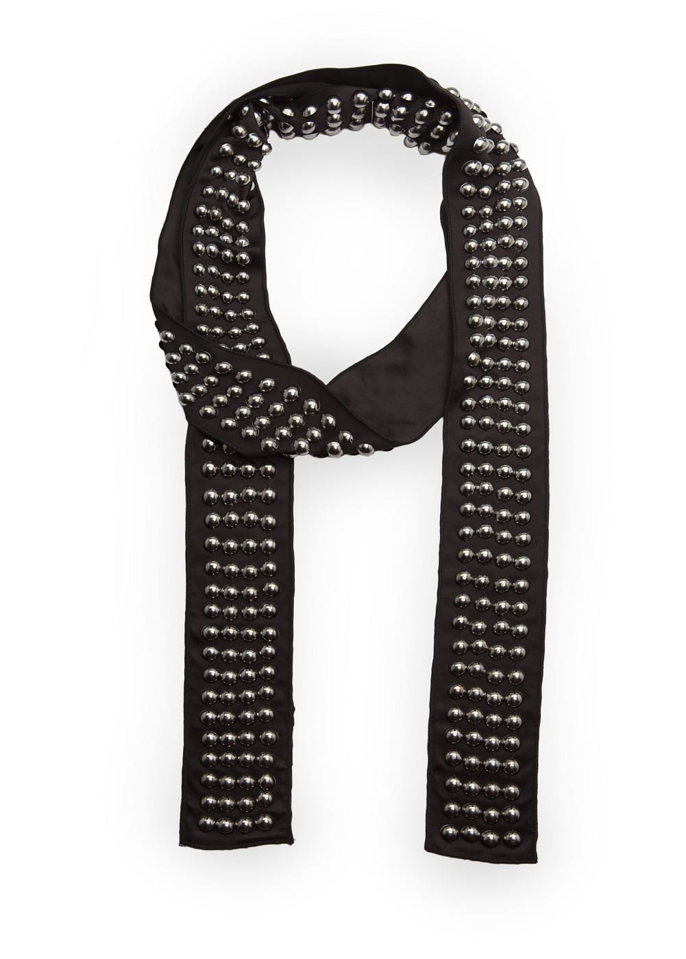 Satin finish studded foulard