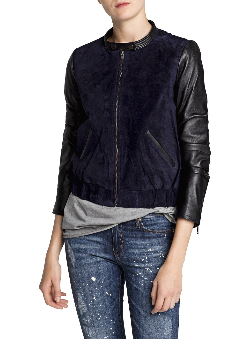 Combi leather bomber jacket | MANGO