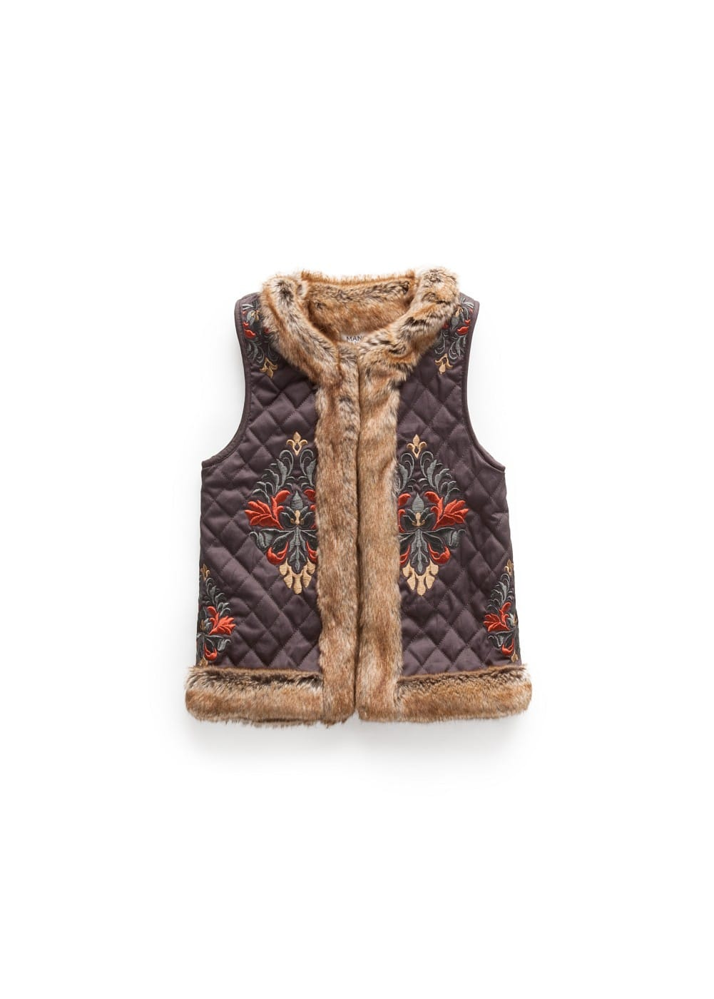 Faux fur-lined embroidered gilet | MANGO KIDS