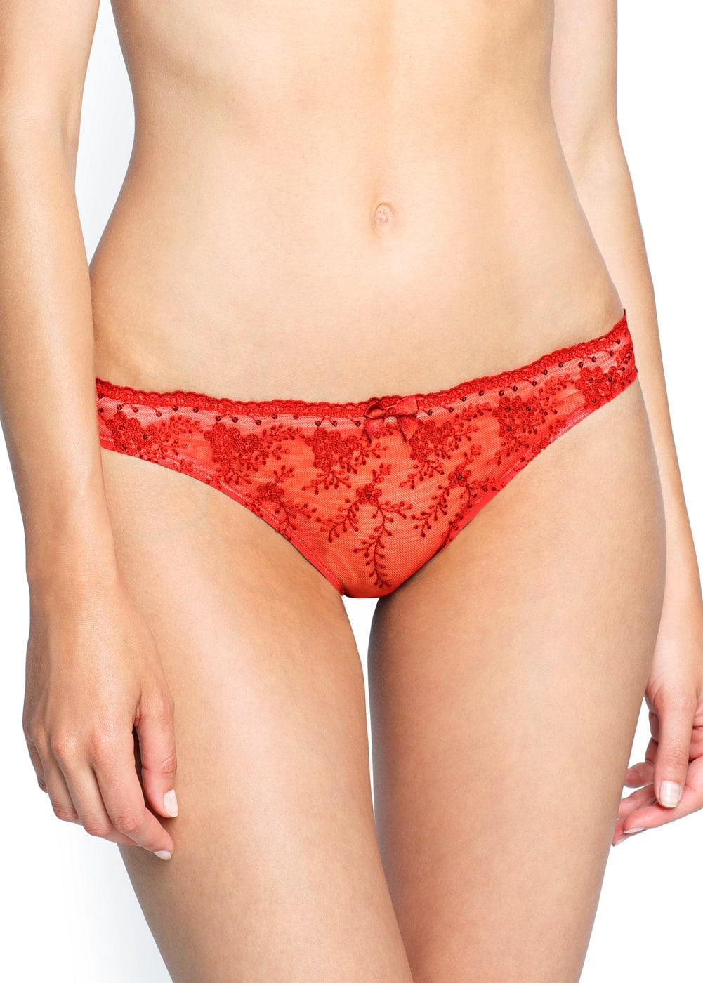 Sequined floral lace panty | MANGO