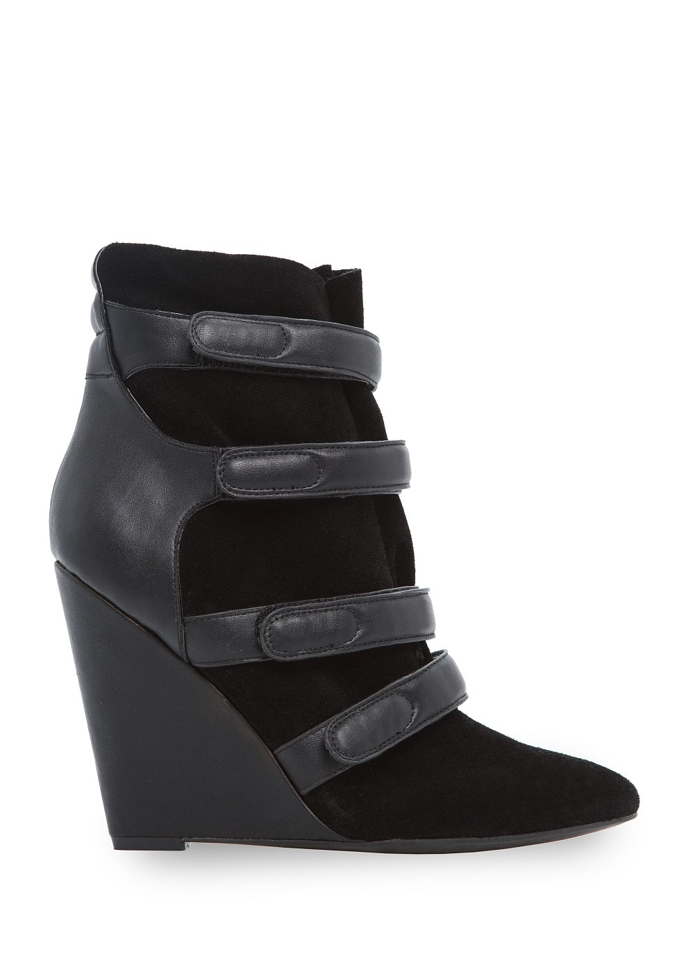 Velcro suede wedge ankle boots