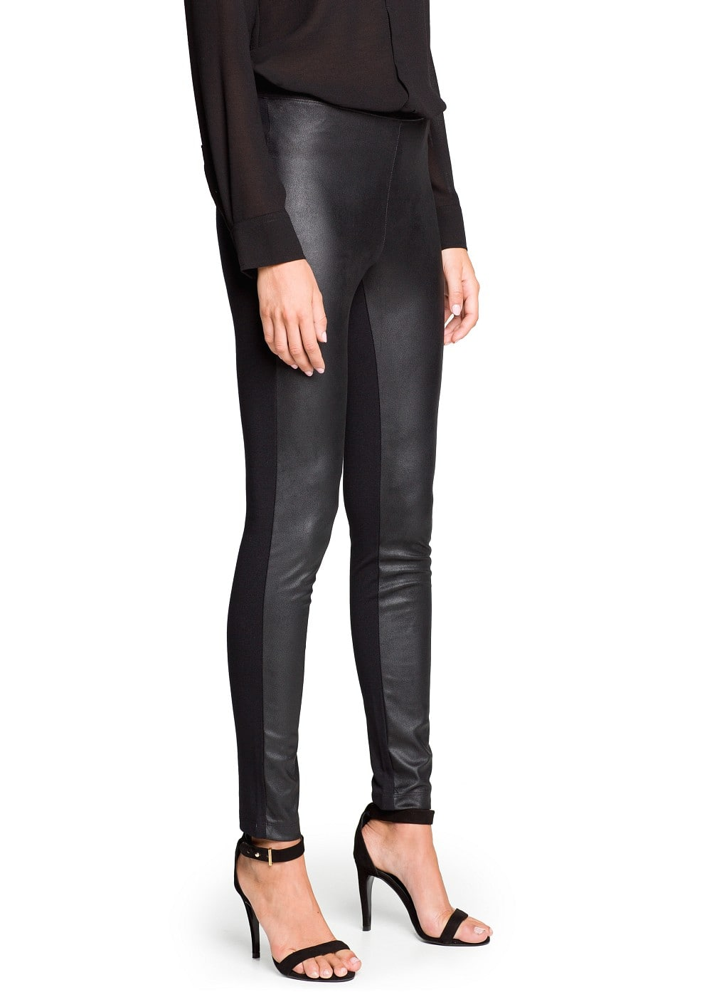 Glossy finish faux suede leggings