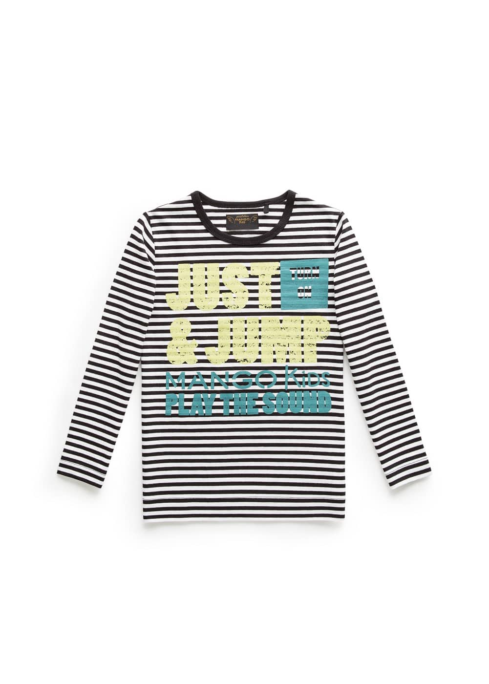 Typographic print striped t-shirt