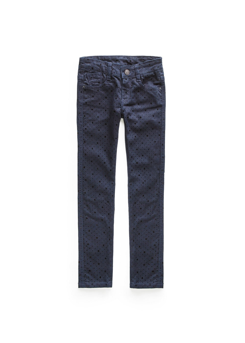 Polka-dot and heart flock jeans