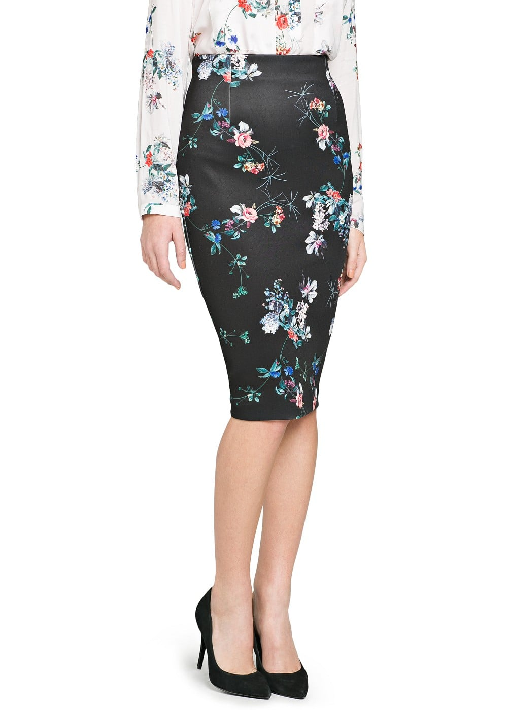 Neoprene-effect floral skirt | MANGO