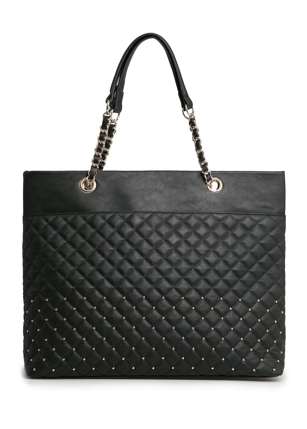 Studded quilted shopper bag