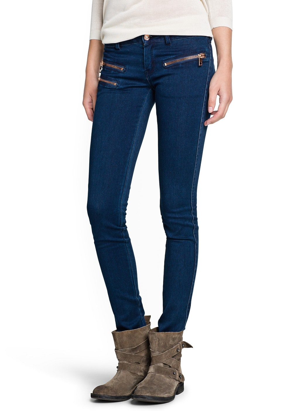 Zip super slim-fit dark jeans | MANGO