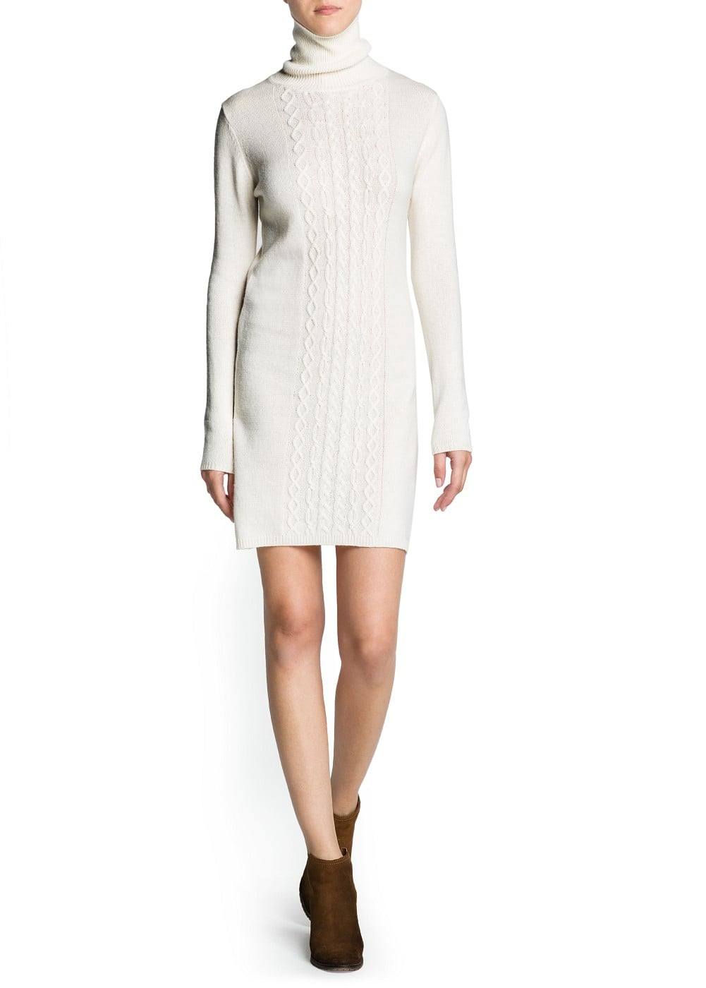 Cable-knit turtleneck dress