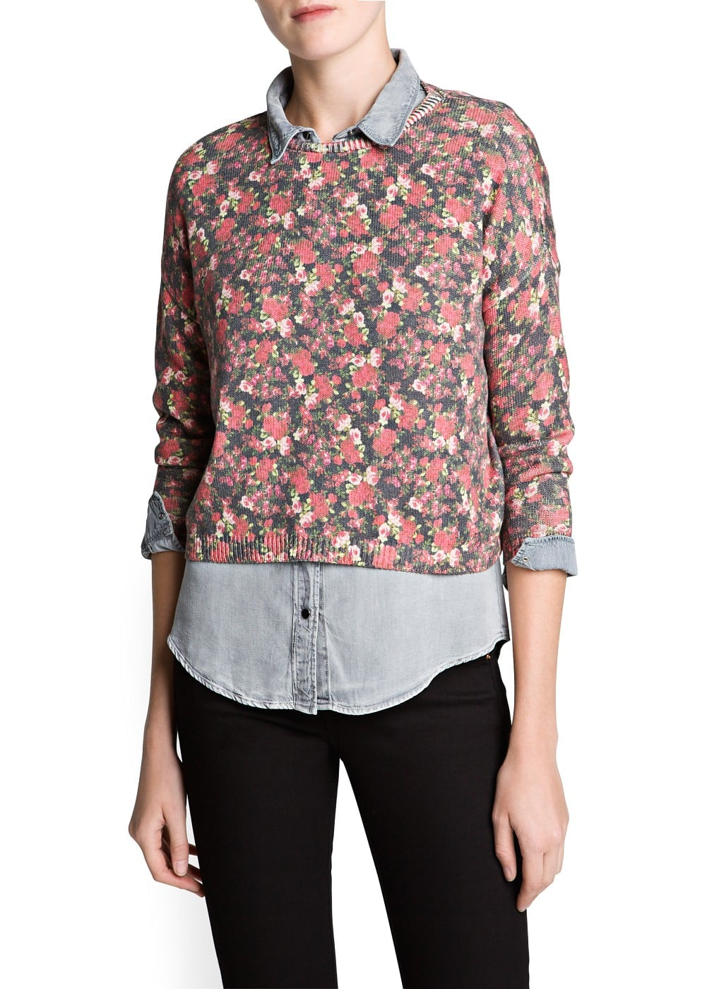 Floral print cotton-blend sweater