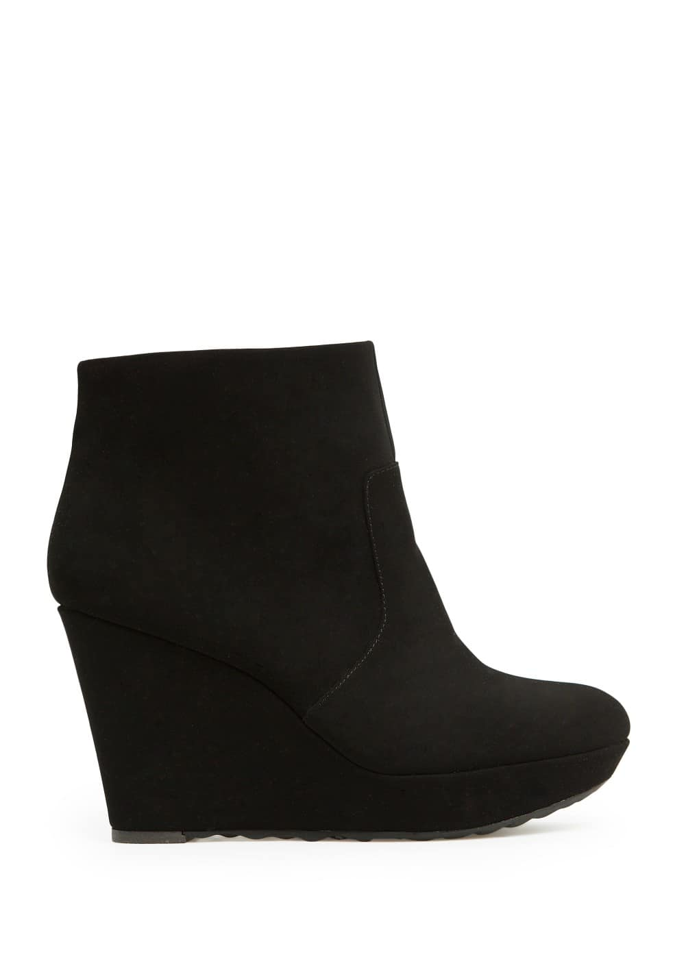 Suede effect wedge ankle boots